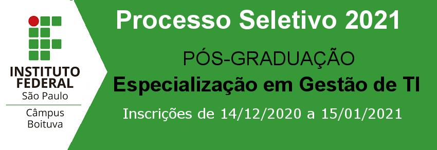 Curso de Pós-graduação Lato Sensu em Gestão de Tecnologia da Informação – Processo Seletivo para Ingresso em 2021