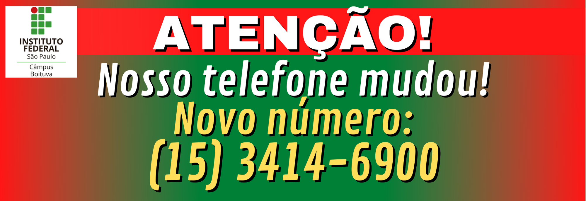 Mudança do Número de Telefone do Câmpus Boituva