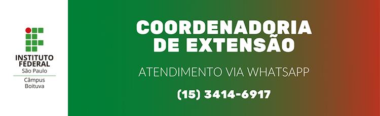 Coordenadoria de Extensão atendendo via WhatsApp!